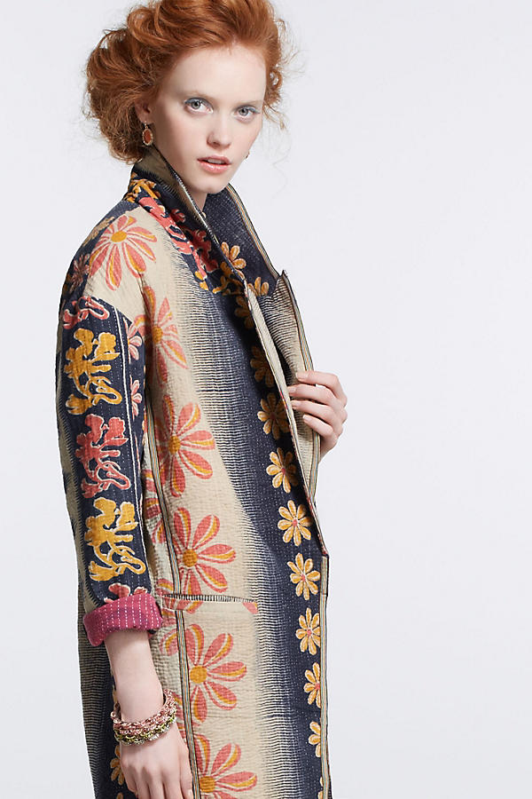 Slide View: 1: Orissa Vintage Kantha Coat