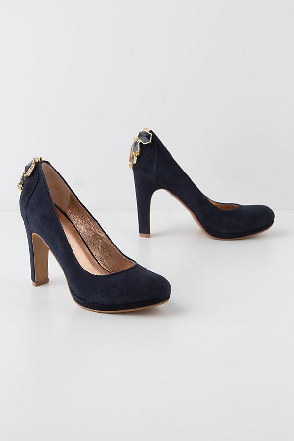 Slide View: 1: Cabochon Suede Pumps
