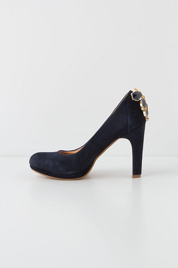Slide View: 3: Cabochon Suede Pumps