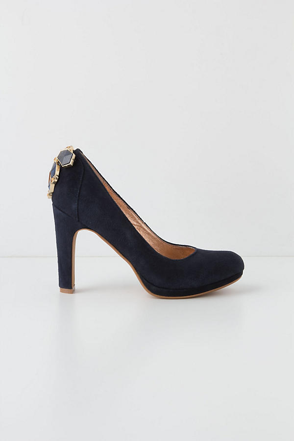 Slide View: 4: Cabochon Suede Pumps