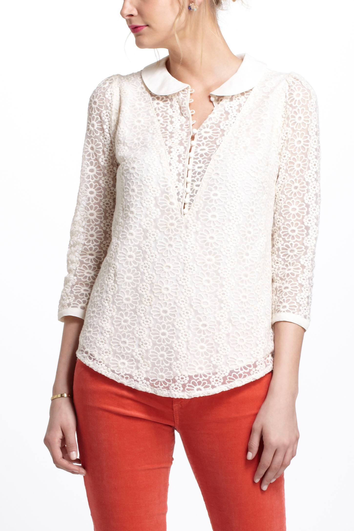 Lace Overlay Blouse