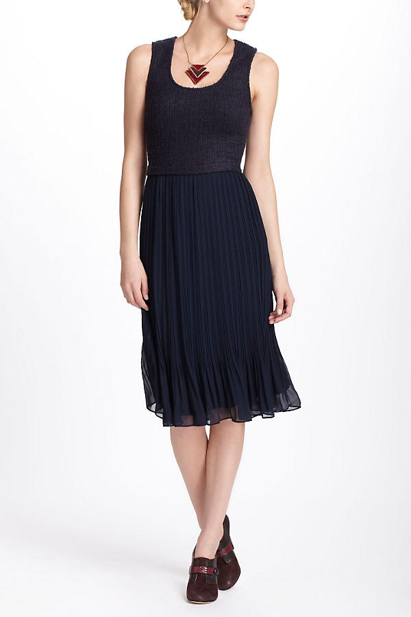 Pleated Boucle Dress