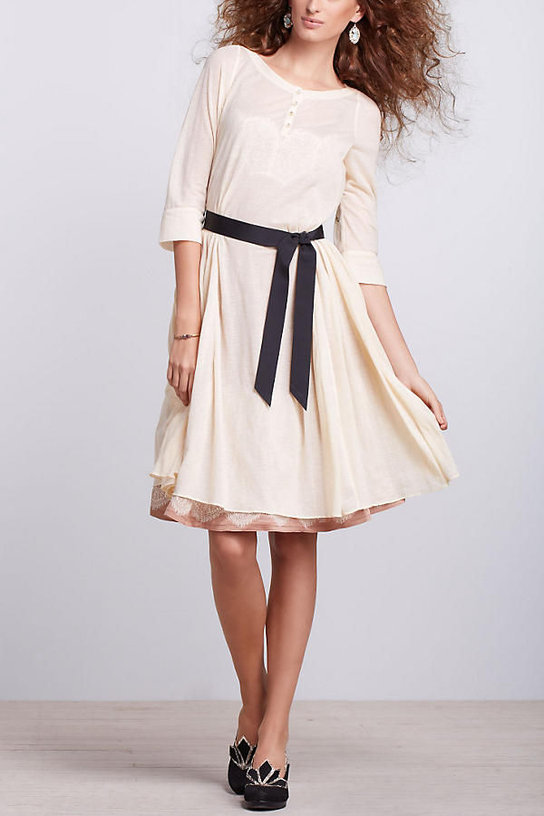 Slide View: 3: Flared Gauze Shirtdress
