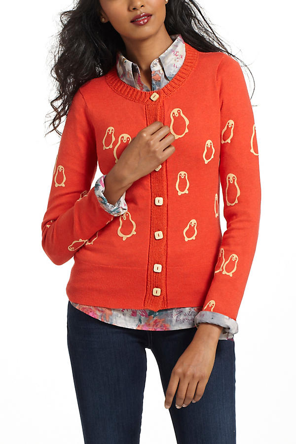Flocked Penguins Cardigan