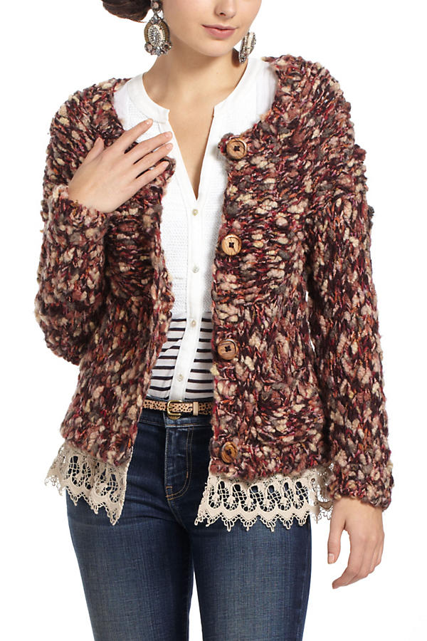Slide View: 2: Lace-Trimmed Marled Cardigan