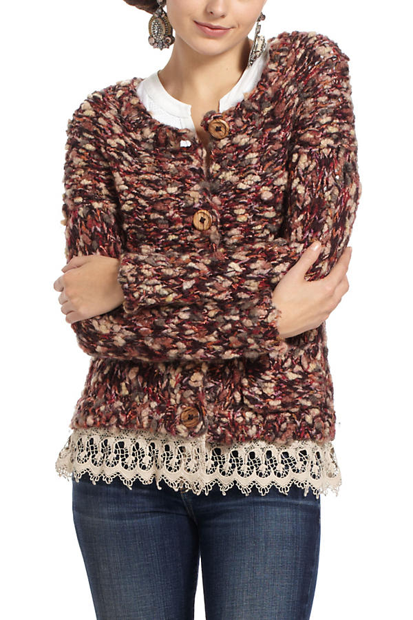 Slide View: 1: Lace-Trimmed Marled Cardigan