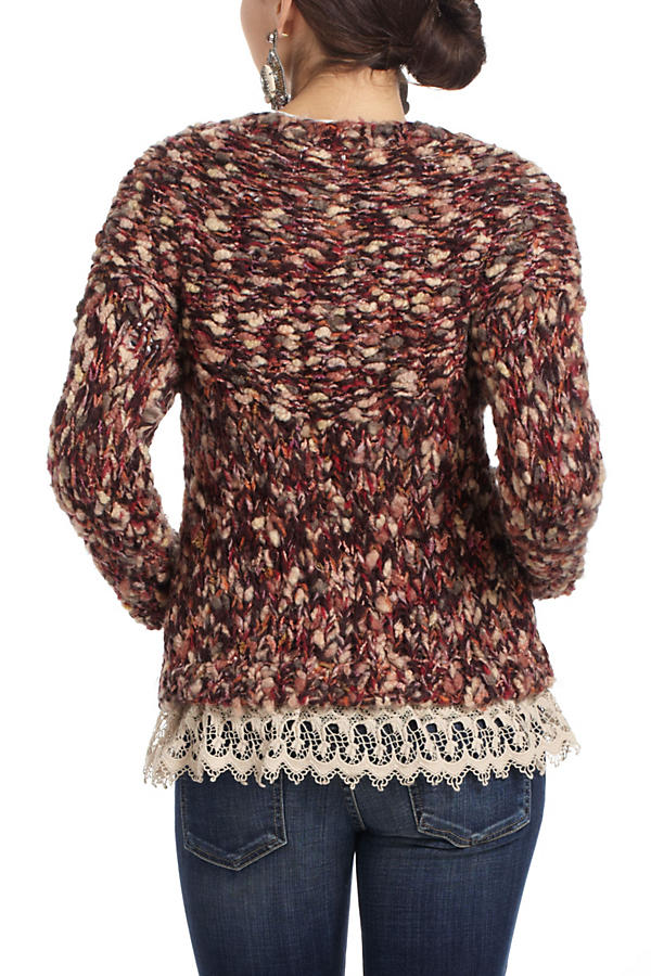Slide View: 3: Lace-Trimmed Marled Cardigan