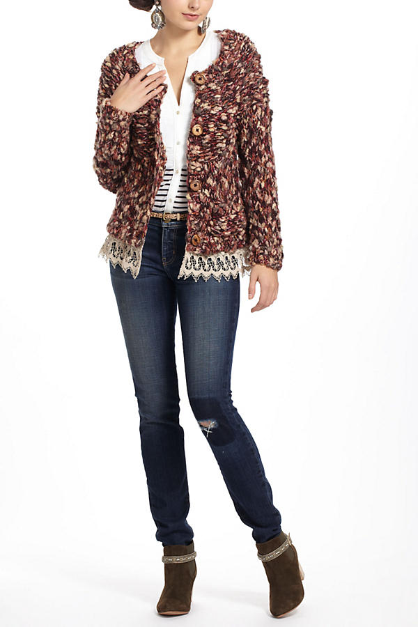 Slide View: 4: Lace-Trimmed Marled Cardigan