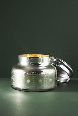 Giant Capri Blue Mercury Glass Candle