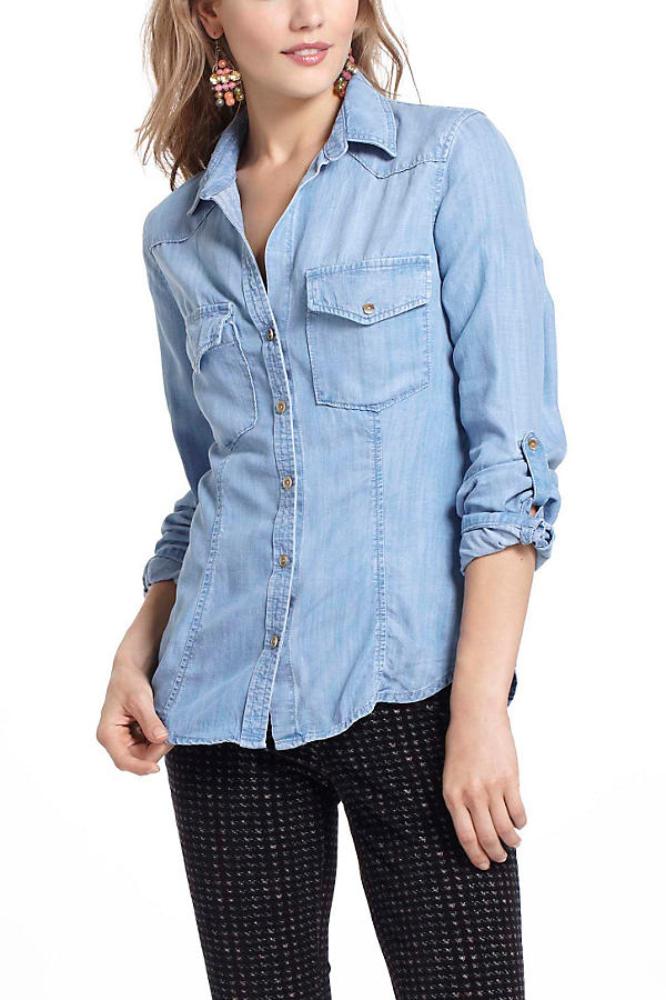 Slide View: 2: Fitted Chambray Buttondown