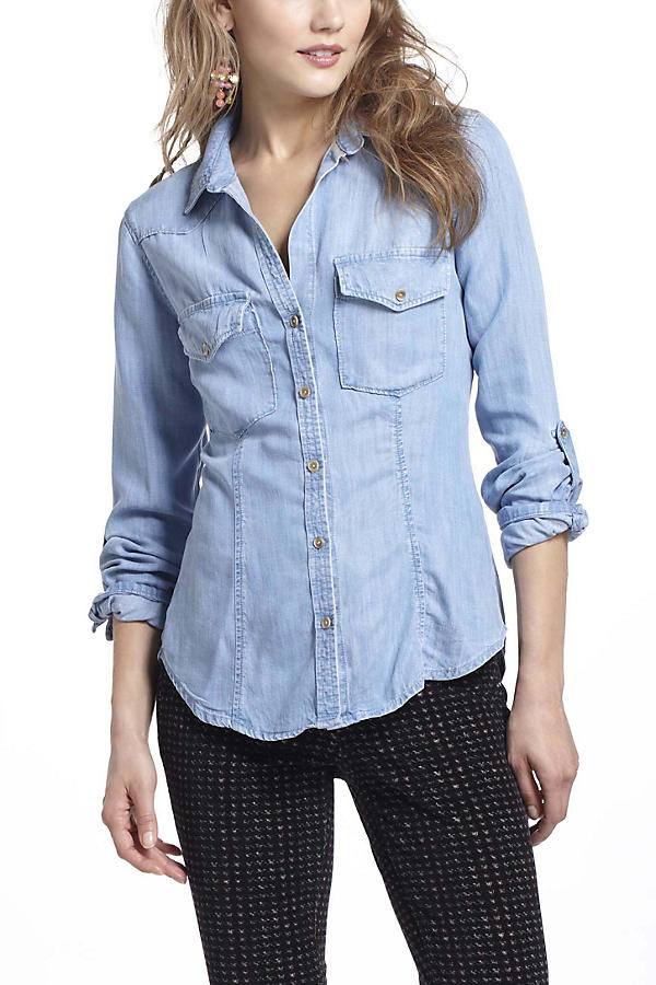 Slide View: 6: Fitted Chambray Buttondown