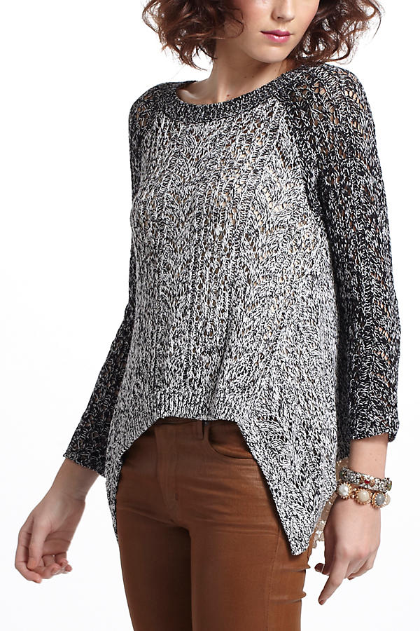 Slide View: 2: Dipped Lace Marled Sweater