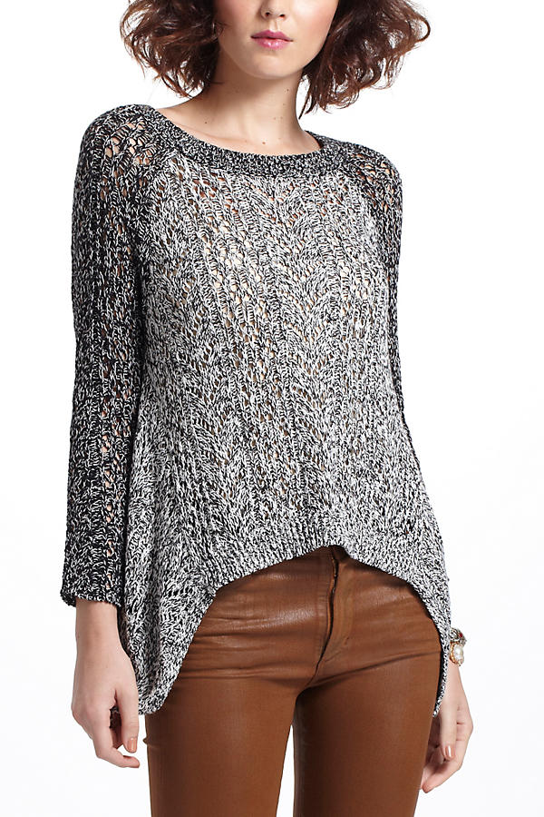 Slide View: 1: Dipped Lace Marled Sweater