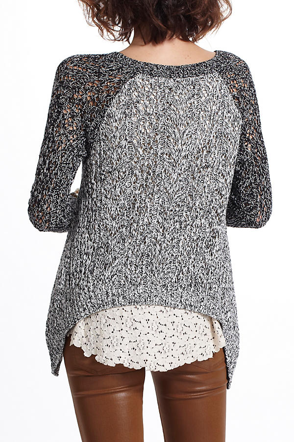 Slide View: 3: Dipped Lace Marled Sweater
