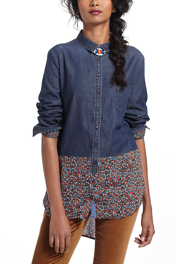 Slide View: 2: Flora-Spliced Chambray Buttondown