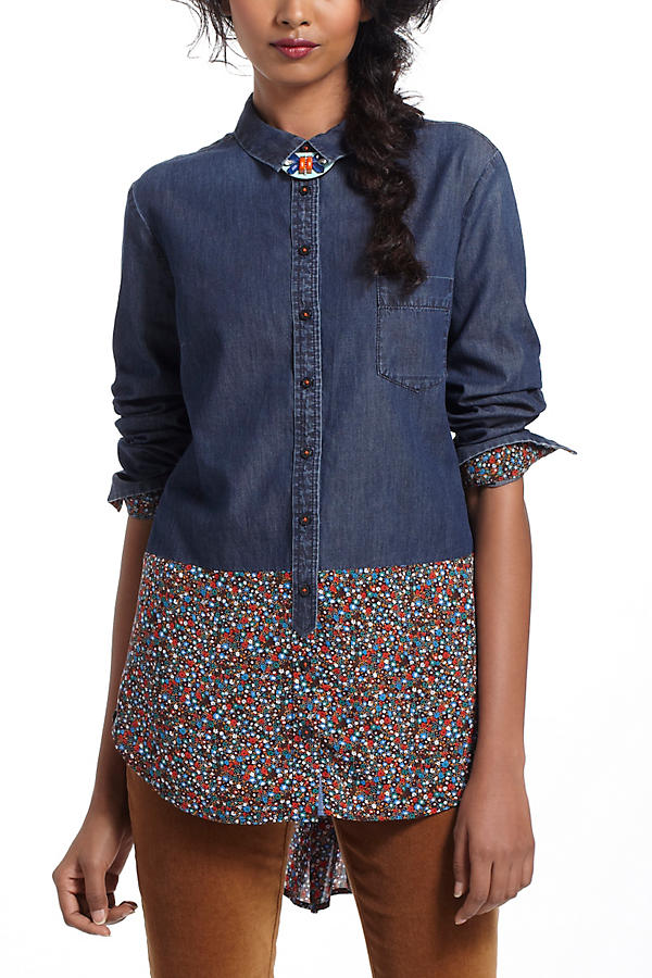 Slide View: 1: Flora-Spliced Chambray Buttondown