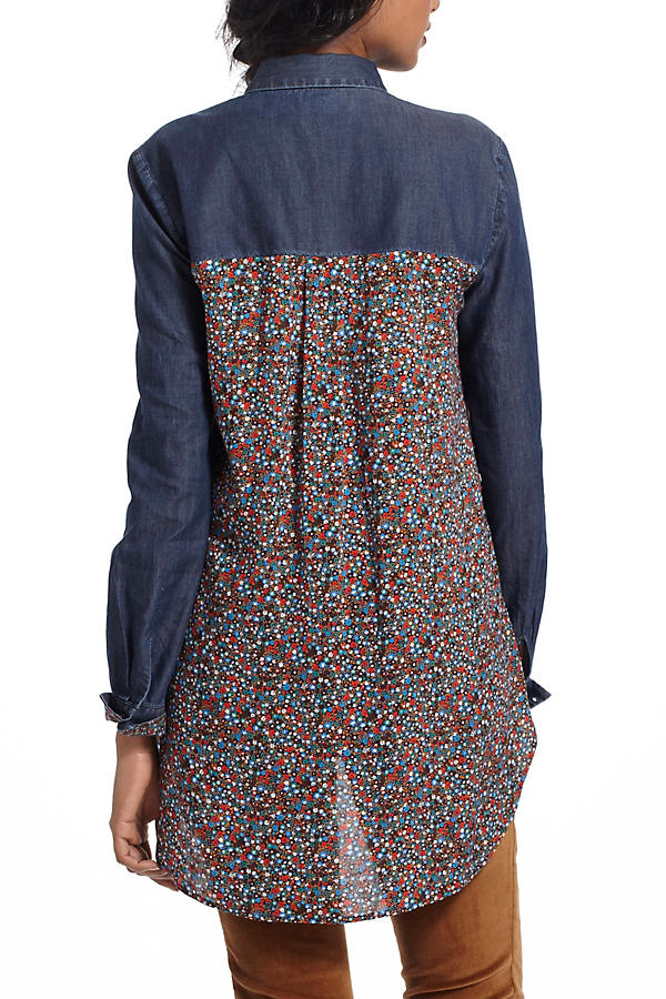 Slide View: 3: Flora-Spliced Chambray Buttondown