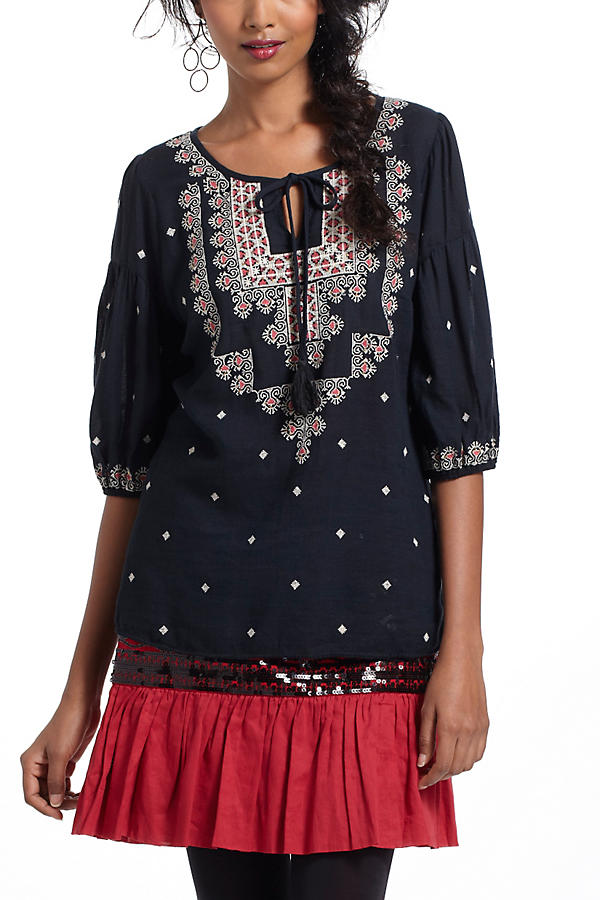 Slide View: 1: Stitched Medallions Peasant Top