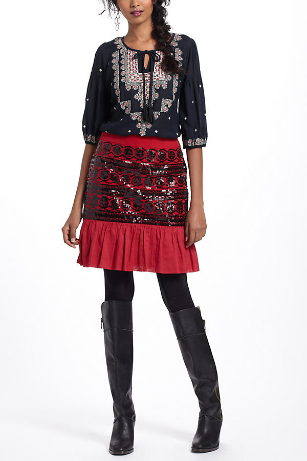 Slide View: 5: Stitched Medallions Peasant Top