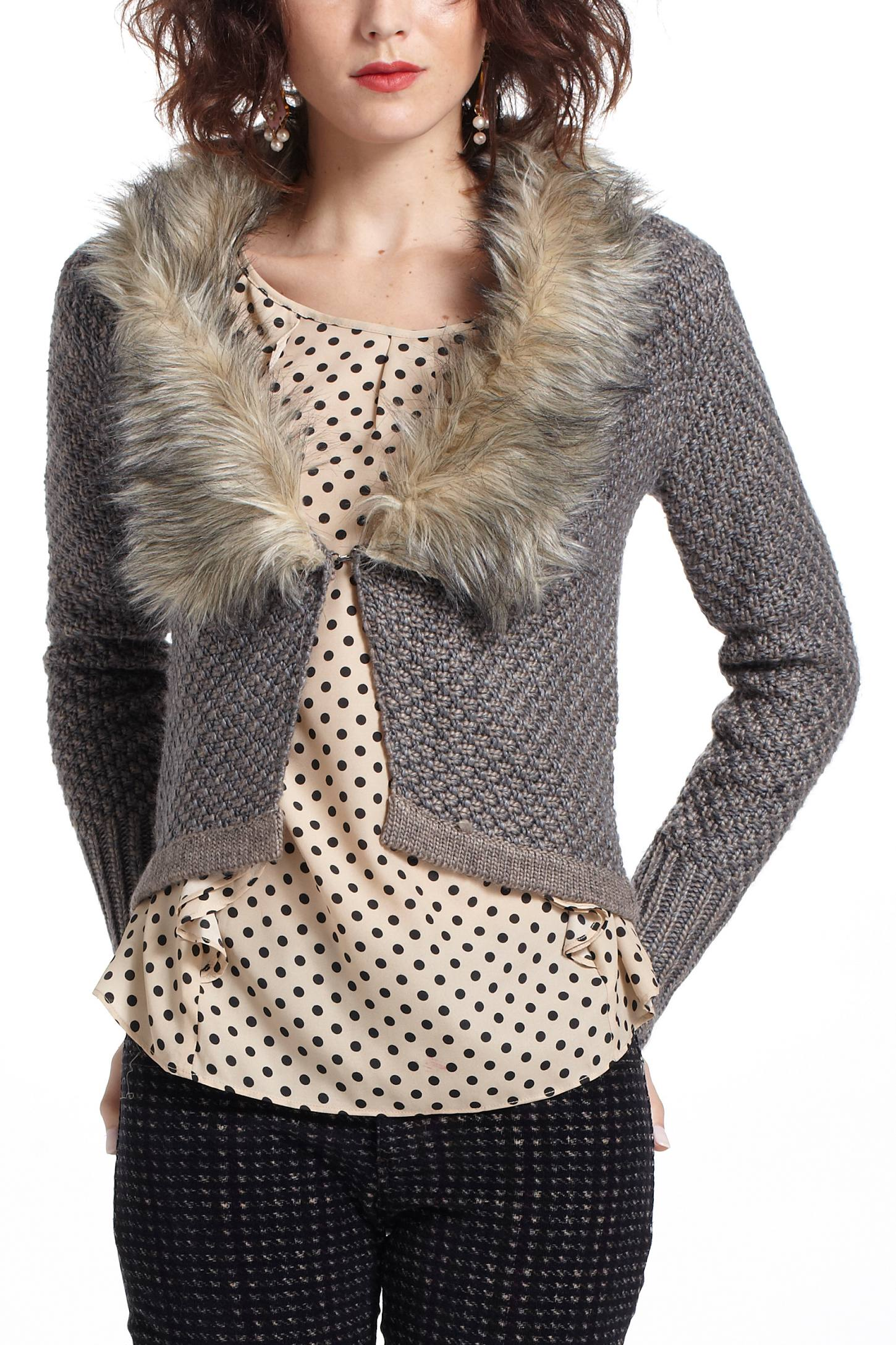 Downy Collar Cardigan