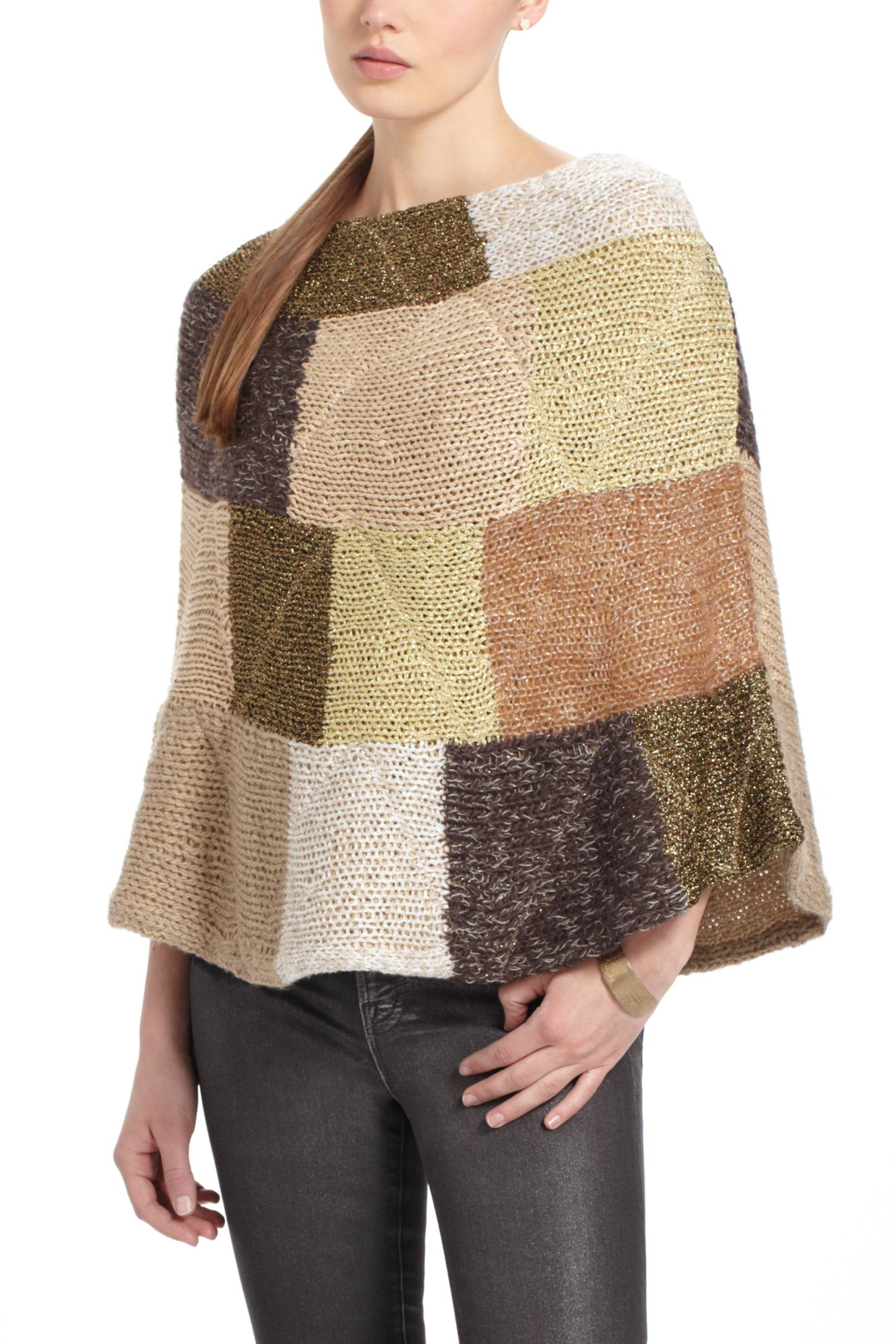 Metallic Patchwork Poncho
