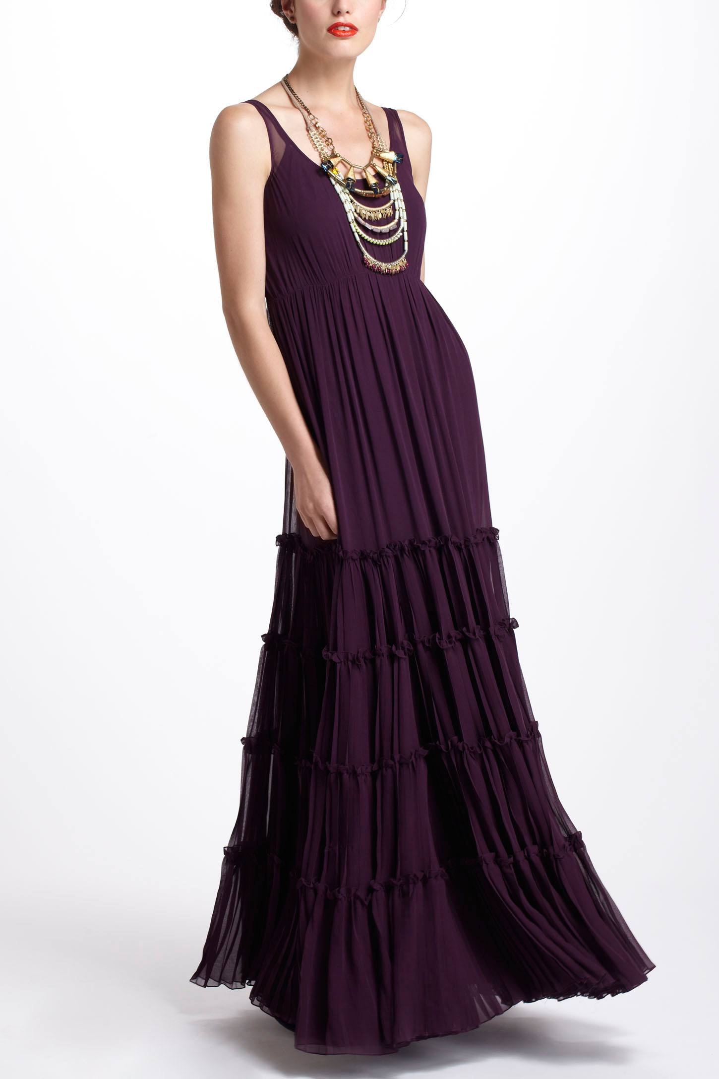 Tiered Silk Maxi Dress
