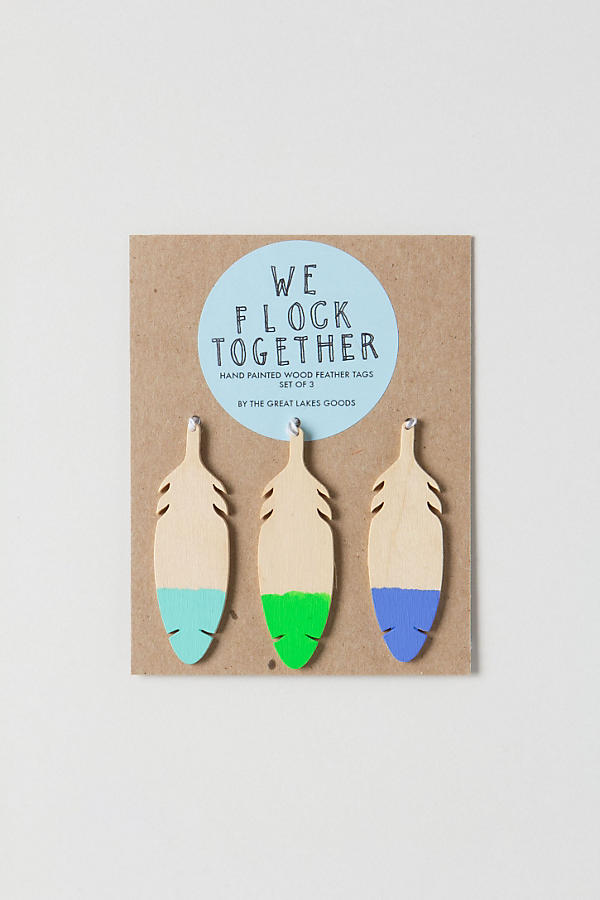Wooden Feather Gift Tag Set