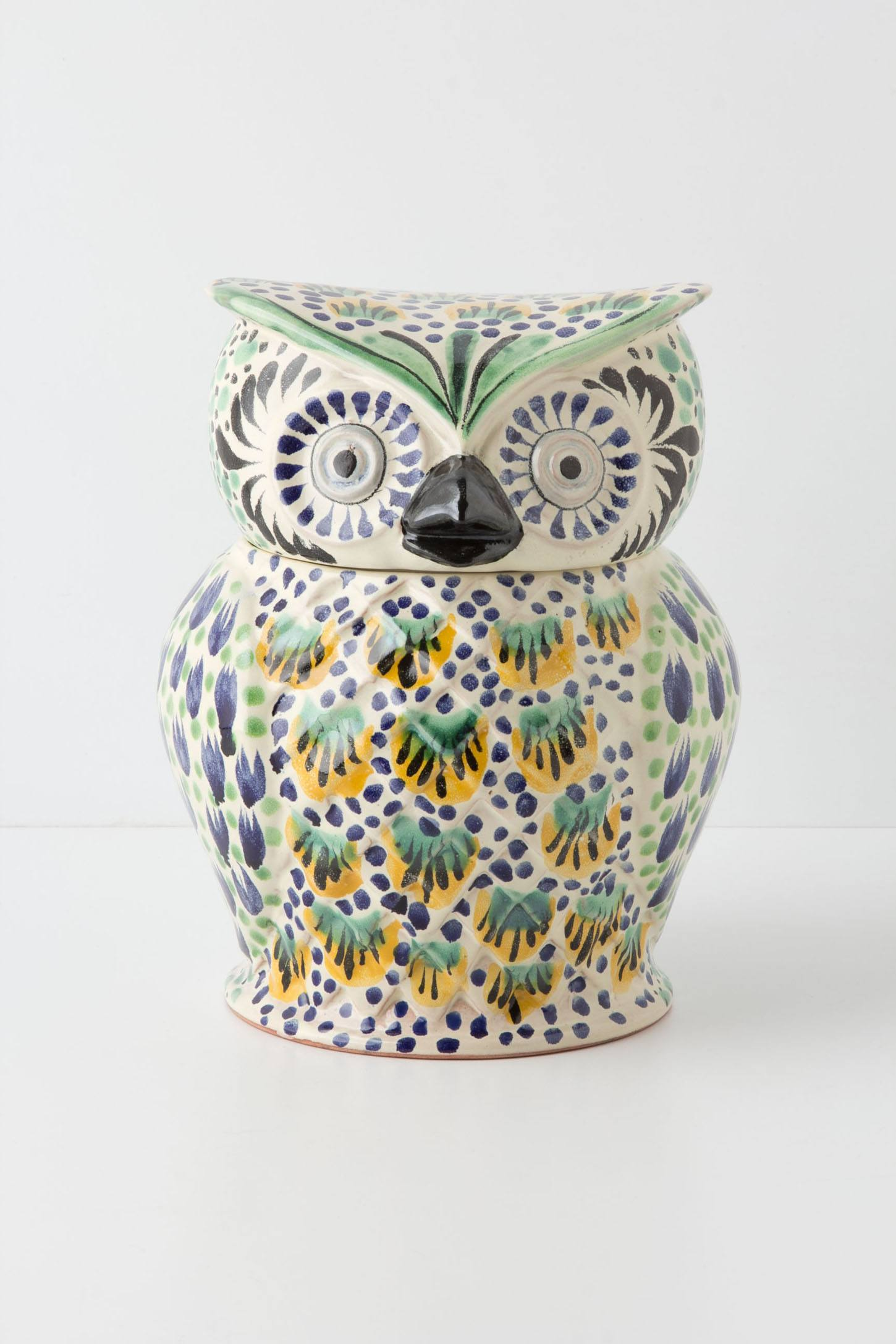 Handpainted Folk Owl Cookie Jar