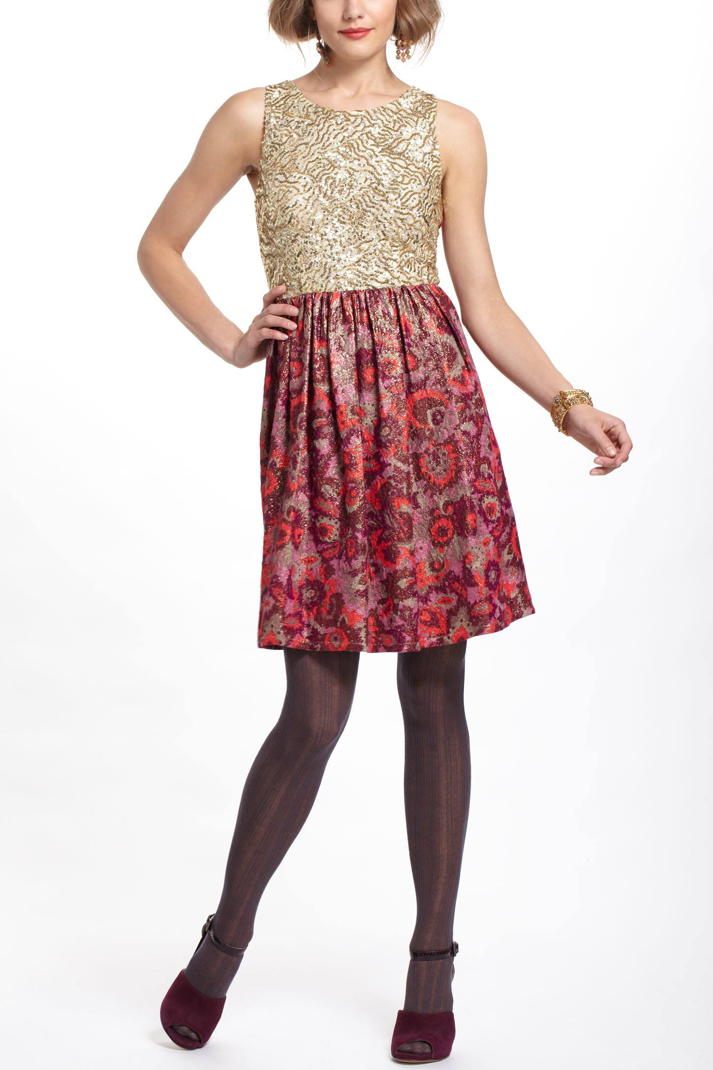 Sequined Jacquard Dress