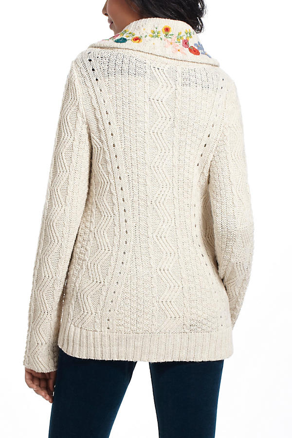 Slide View: 3: Embroidered Cableknit Cardigan