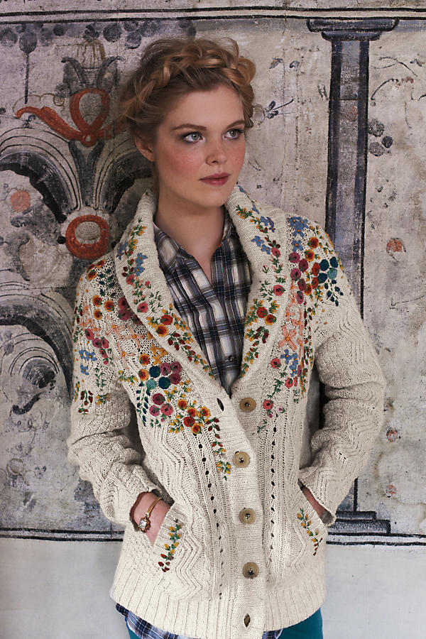 Slide View: 4: Embroidered Cableknit Cardigan
