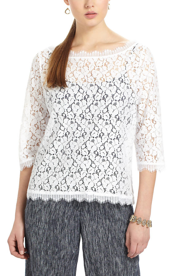 Slide View: 1: Fringed Lace Layer Tee