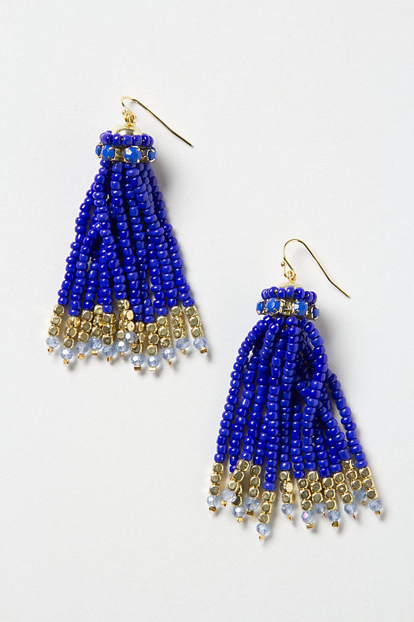 Slide View: 1: Bead Tassel Earrings