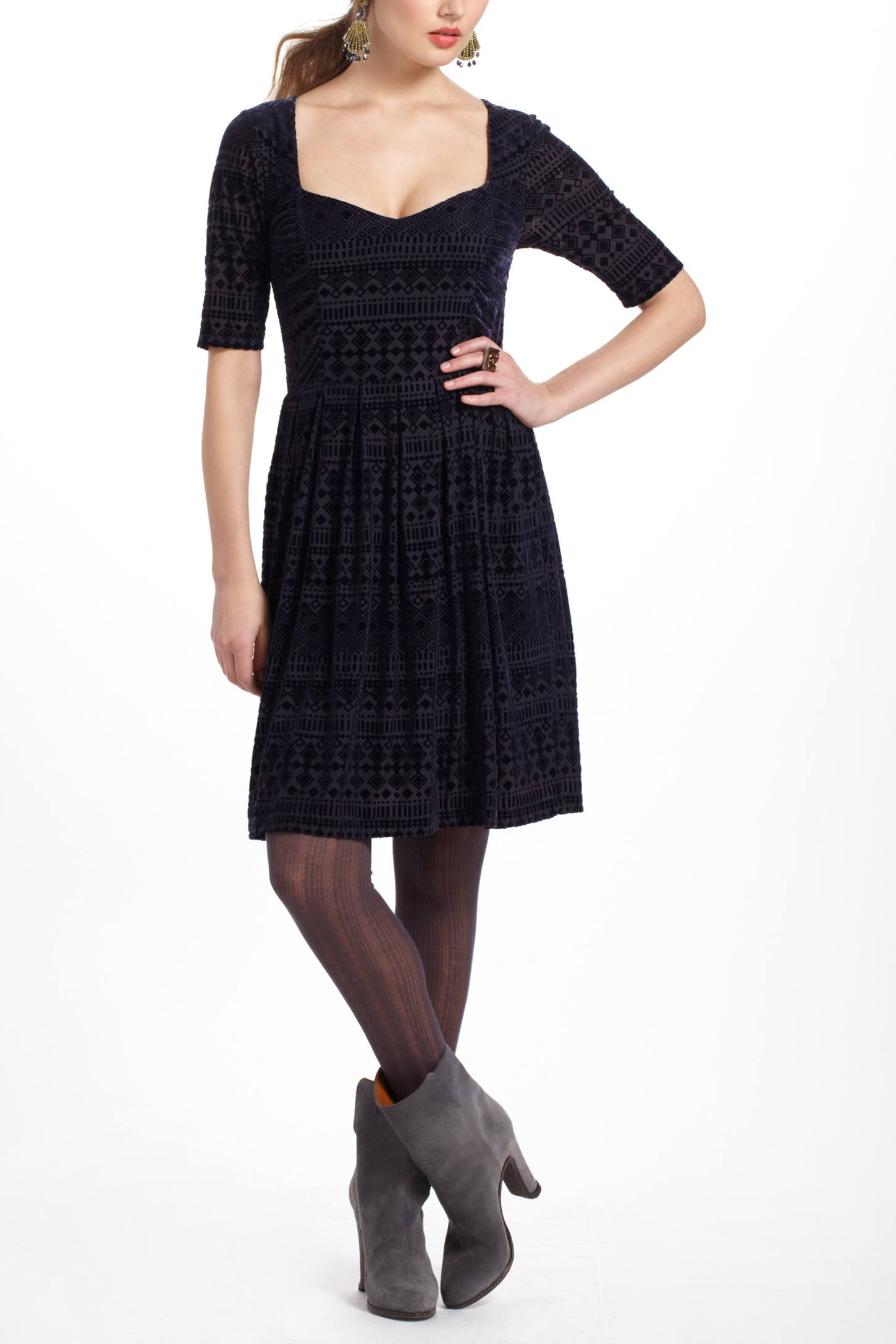 Geo-Burnout Velvet Dress