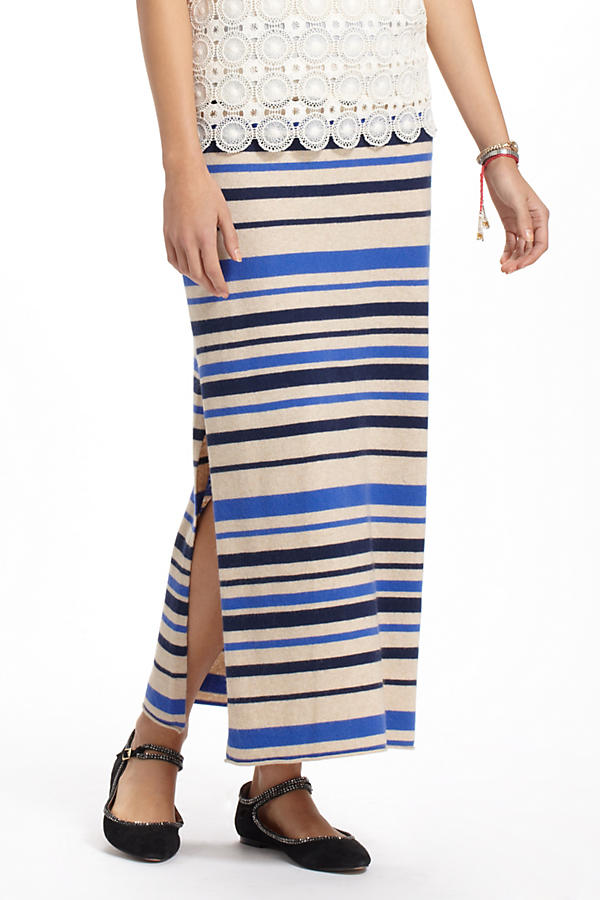 Slide View: 1: French Stripes Maxi Sweater Skirt