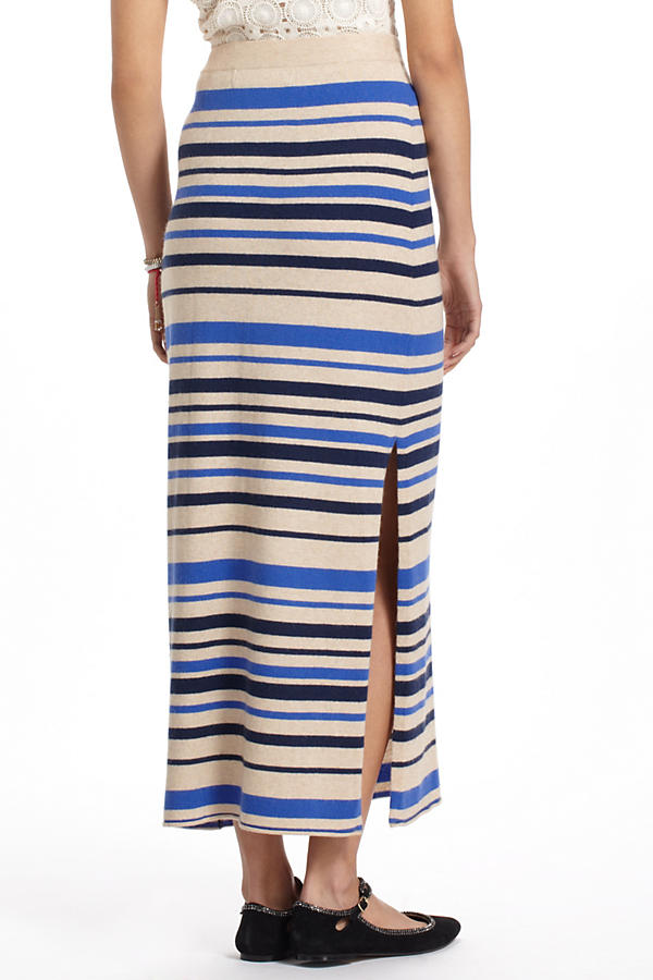 Slide View: 2: French Stripes Maxi Sweater Skirt