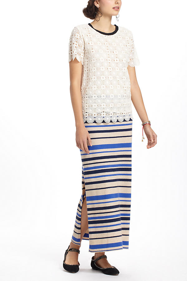 Slide View: 3: French Stripes Maxi Sweater Skirt