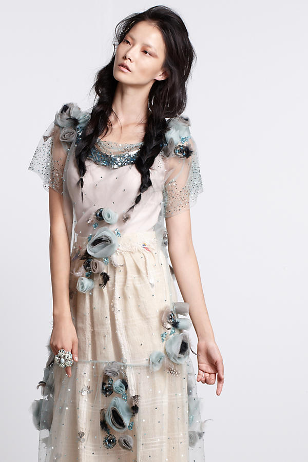 Slide View: 1: Asra Tulle Midi Dress