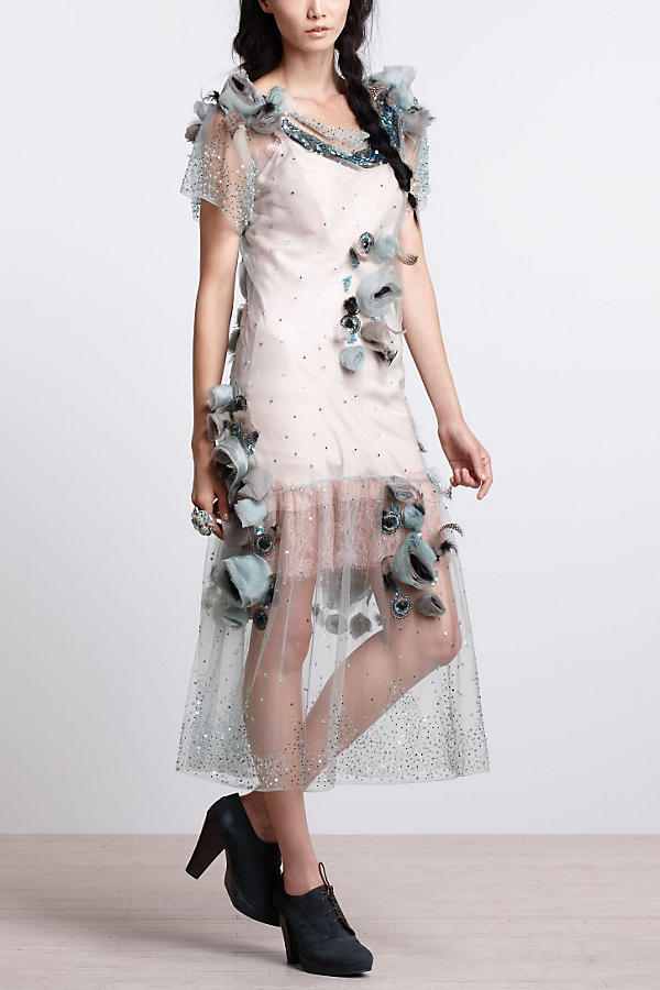 Slide View: 3: Asra Tulle Midi Dress