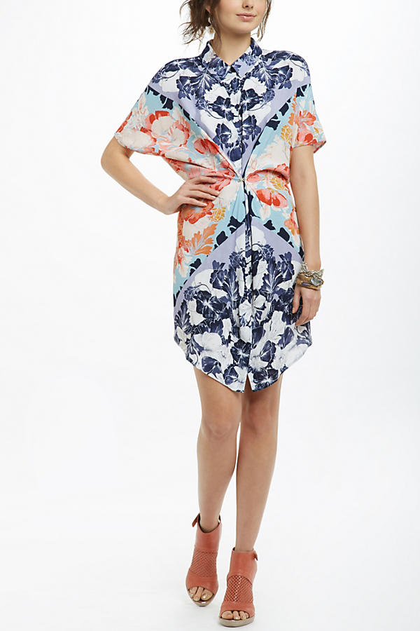 Slide View: 1: Hibiscus Bloom Shirtdress