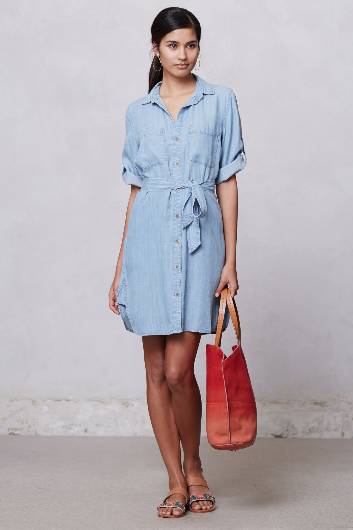 Belted Chambray Shirt Dress Anthropologie