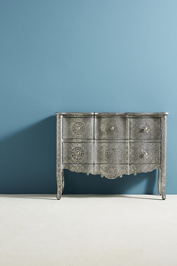 Slide View: 2: Hand-Embossed Four-Drawer Dresser