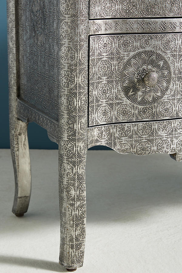 Slide View: 3: Hand-Embossed Four-Drawer Dresser