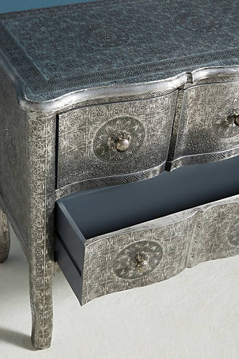 Slide View: 4: Hand-Embossed Four-Drawer Dresser