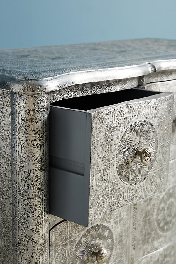 Slide View: 5: Hand-Embossed Four-Drawer Dresser