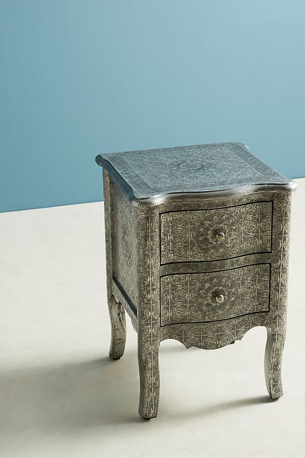 Slide View 2 Hand Embossed Nightstand