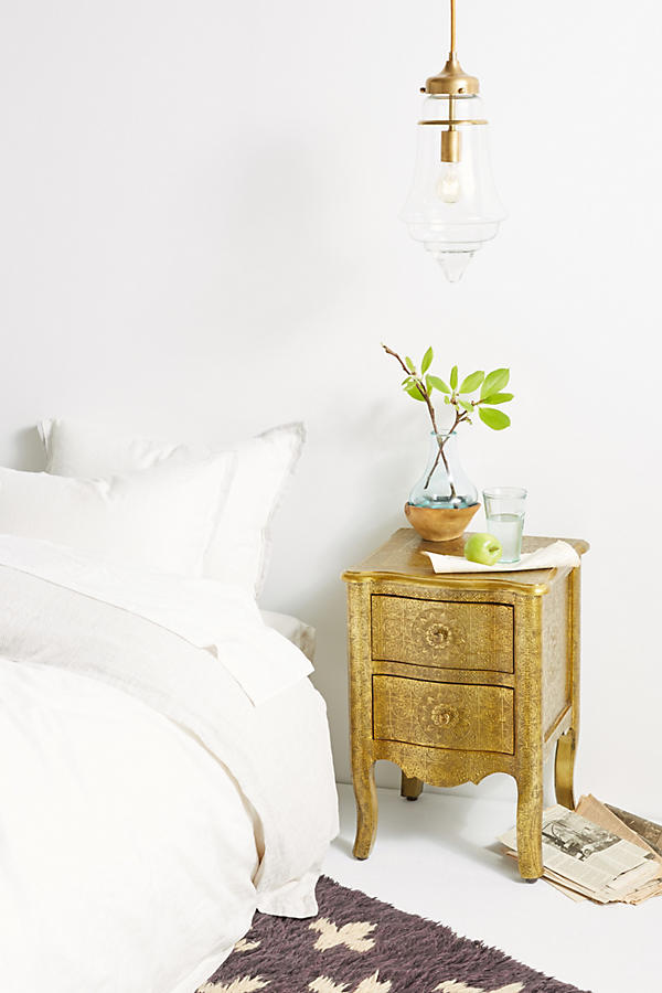 Slide View: 1: Hand-Embossed Nightstand