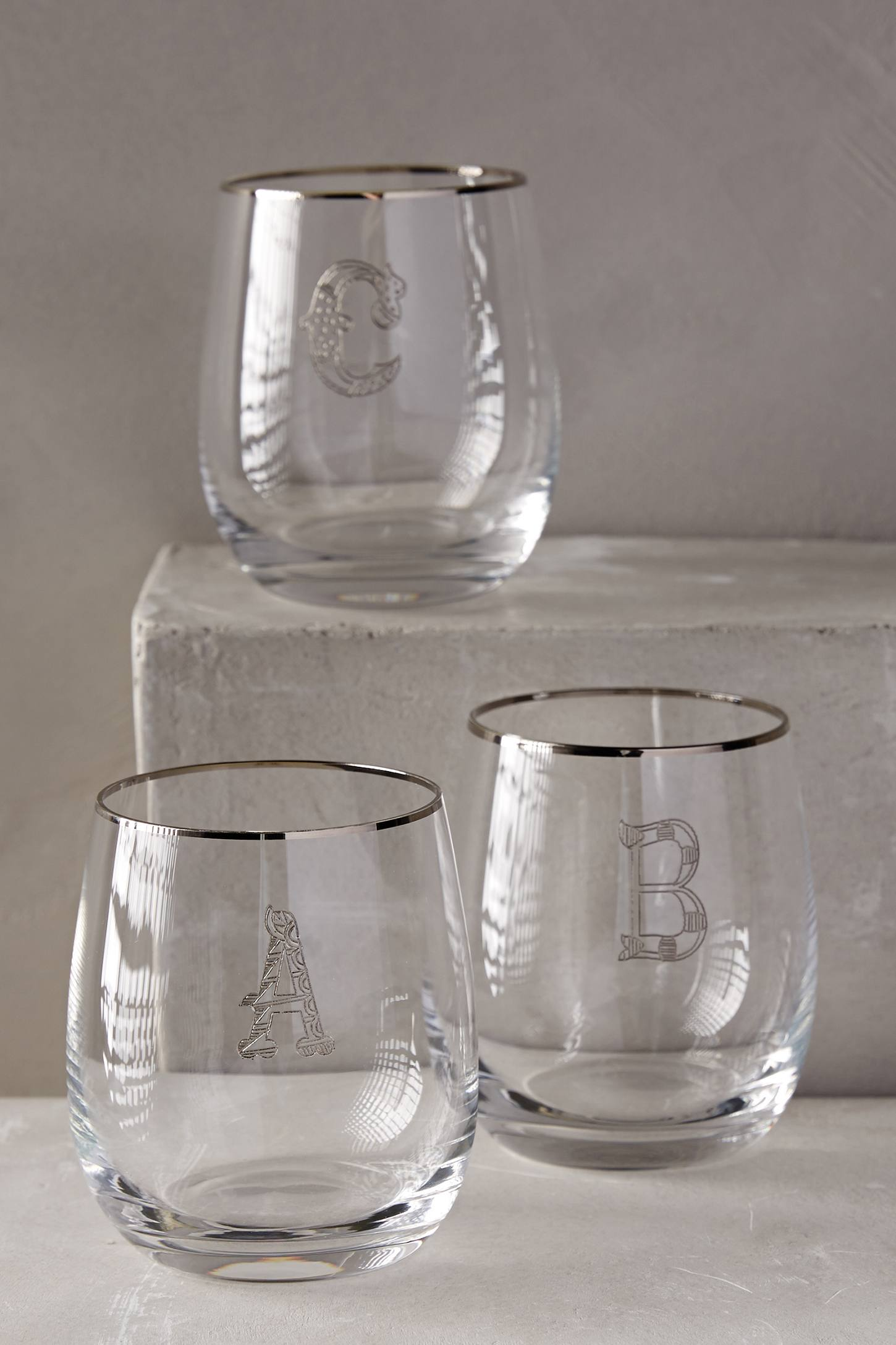 Slide View: 3: Etched Monogram Glass