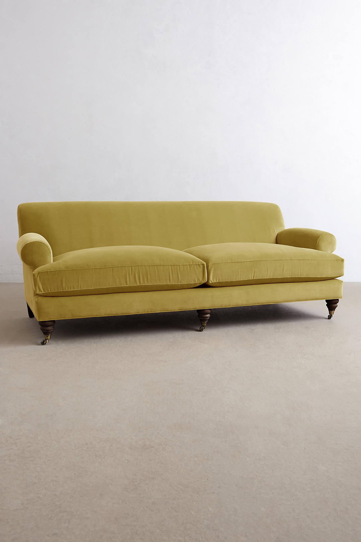 Velvet Willoughby Sofa, Hickory