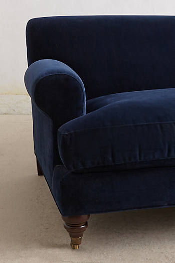 Slide View: 3: Velvet Willoughby Sofa, Hickory